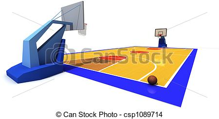 3D clipart basketball court Rendered court of illustration csp1089714