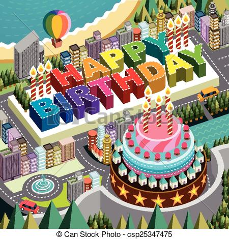 3D clipart birthday cake Birthday big scenery big isometric