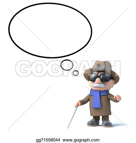 3D clipart blind Illustration Stock thought bubble 3d