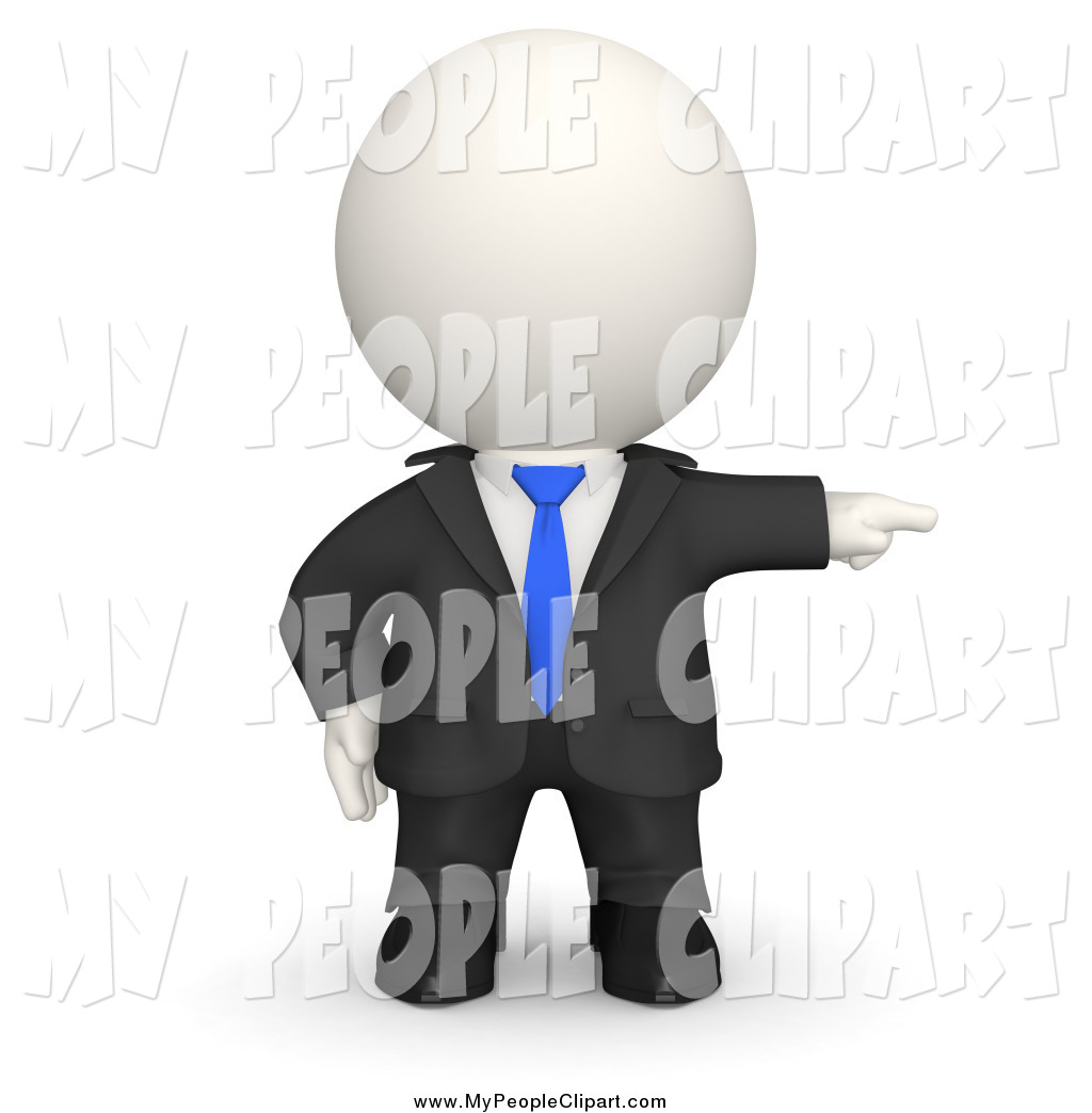 3D clipart boss Pointing by Businessman White Boss