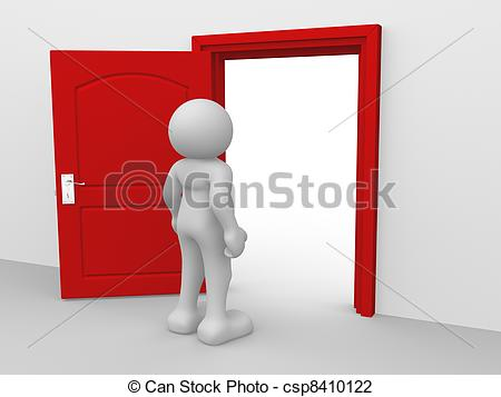 Open Door clipart old door Open 3d human character people