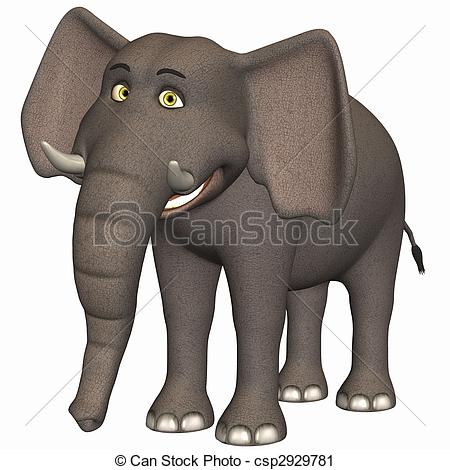 3D clipart elephant Of  Toon Render Stock