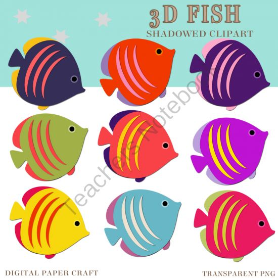 3D clipart fish Digital Clipart on Pinterest pages)