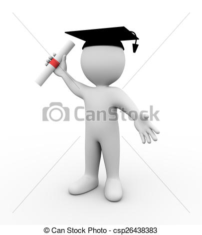 3D clipart graduation Man wearing graduation cap of