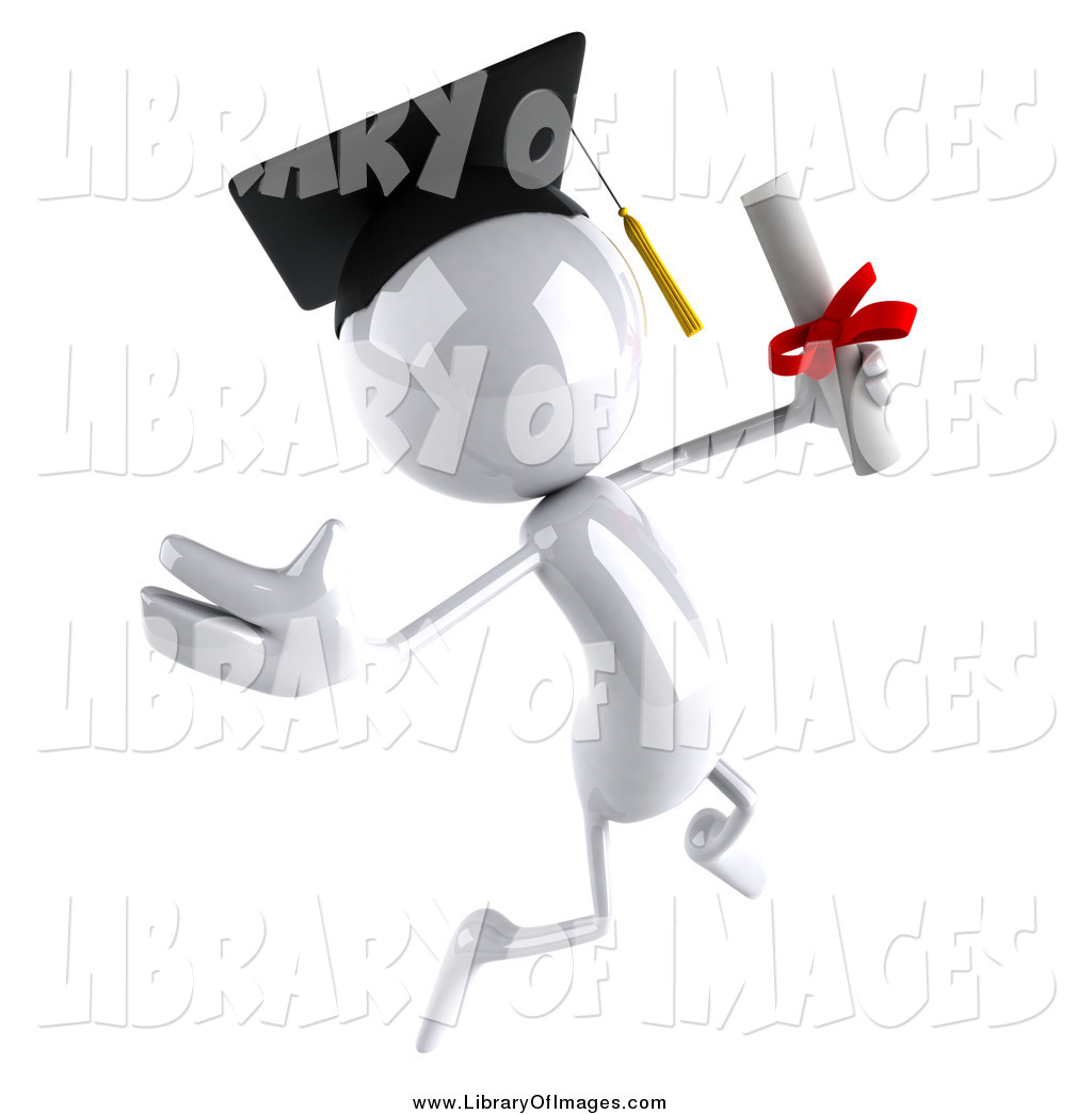 3D clipart graduation Graduate with a Designs Diploma
