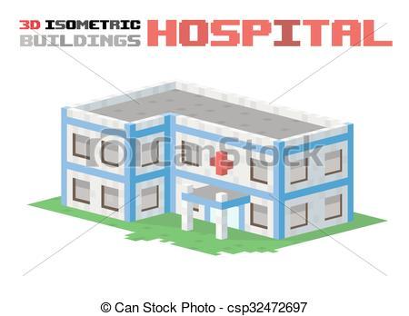 3D clipart hospital building Vectors building 3d Hospital