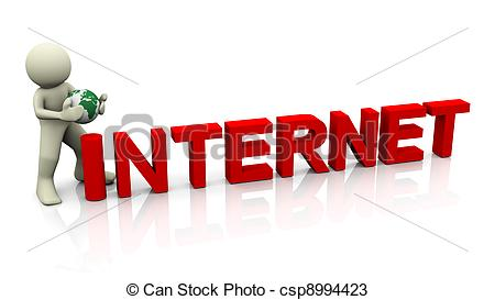 3D clipart internet Word word render and 3d
