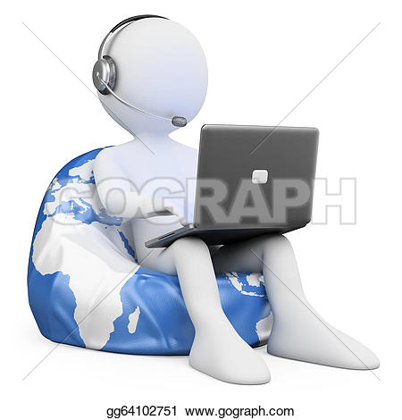 3D clipart internet Person laptop 3d people isolated
