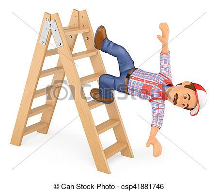 3D clipart ladder  falling of 3D falling