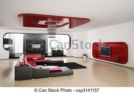 3D clipart living room Kitchen Living render kitchen
