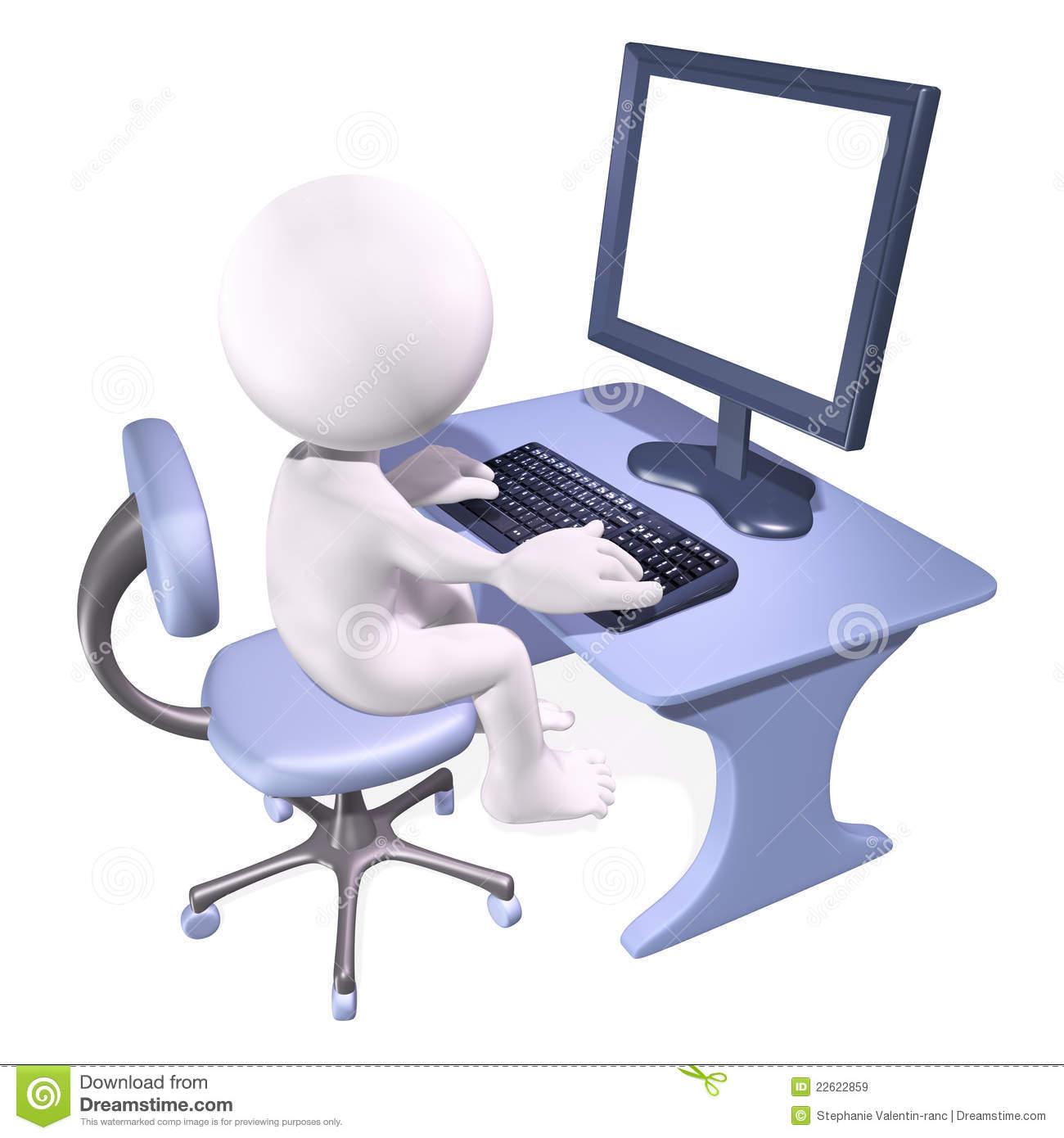 3D clipart man computer Download Man 3d Computer Working