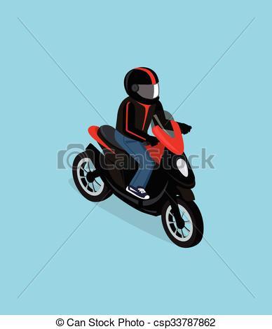 3D clipart motorcycle Motorbiker  Isometric 3D of