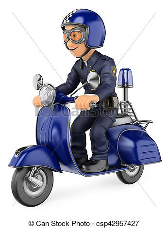 3D clipart motorcycle Riding 3d 3D Policeman of