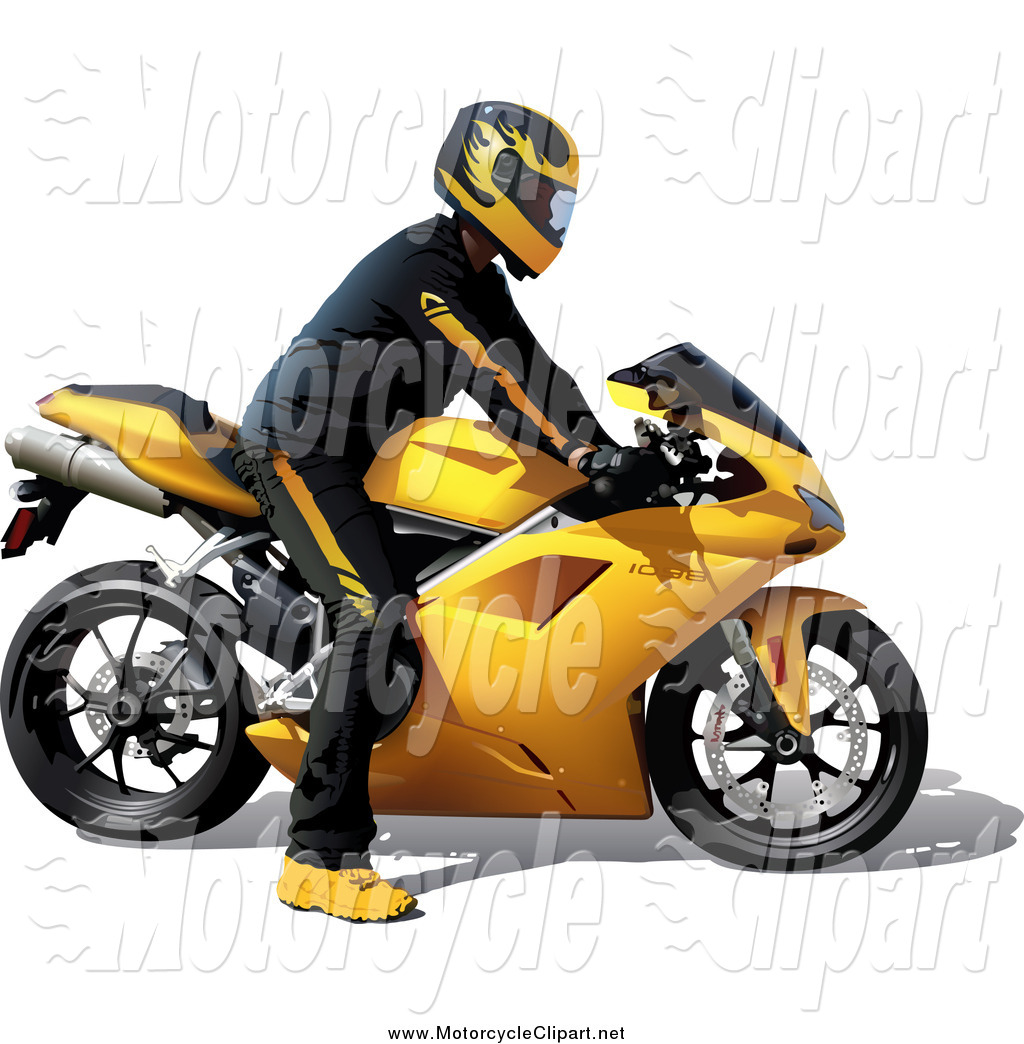 Yellow clipart motorbike A 3d Man Riding Yellow
