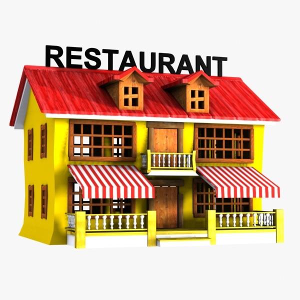 3D clipart restaurant Restaurant model restaurant cartoon toon