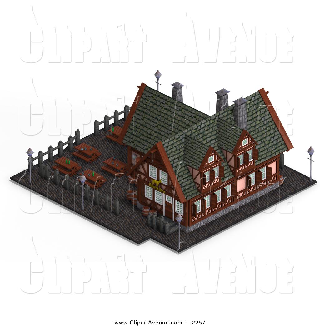 3D clipart restaurant A Building Medieval 3d of