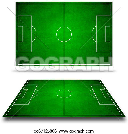 3D clipart soccer field Stock football Illustration Stock 3d