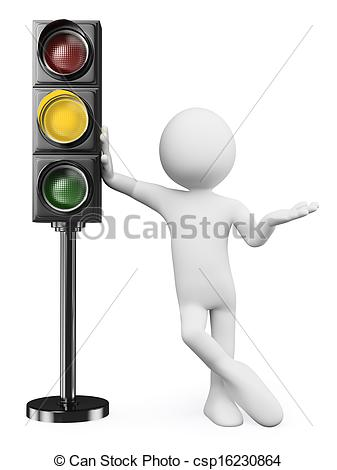 3D clipart traffic light Amber of people light white