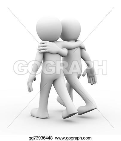 3D clipart two person Illustration together man support 3d