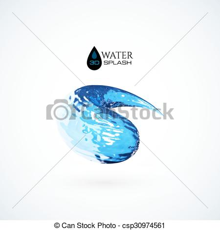 3D clipart water splash Blue  3D water isolated