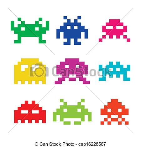 8 Bit clipart Icons aliens invaders Space aliens