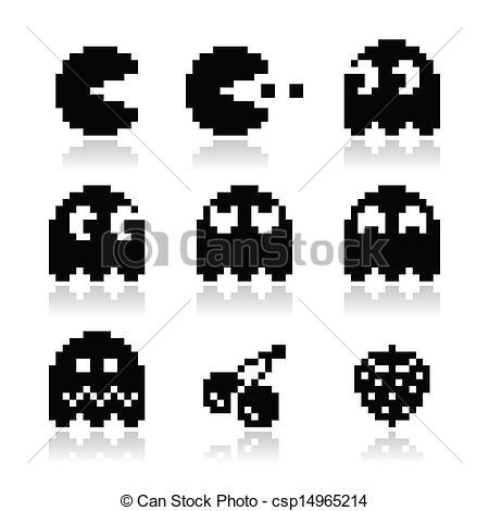 8 Bit clipart legend Ghosts Art Vector retro black