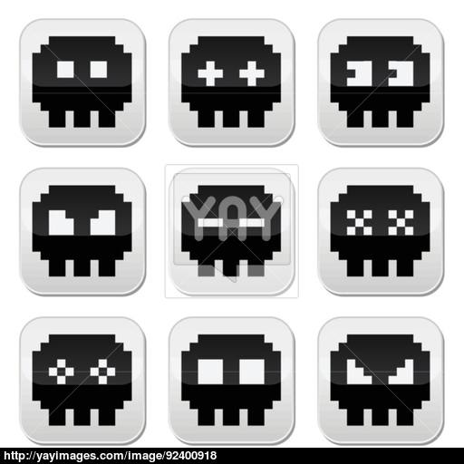 8 Bit clipart old school Space icons invaders round set