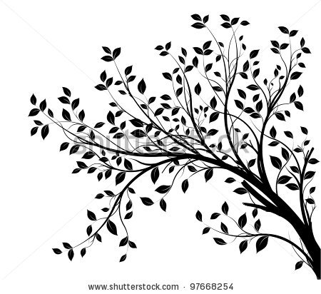 Drawn branch Stock silhouette over with