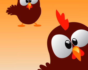 Abstract clipart chicken Chickens Wall Art Stickers Funky
