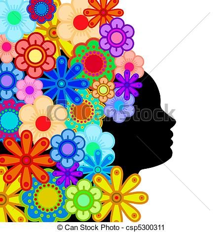 Abstract clipart colorful flower Hair Face  Silhouette Flowers