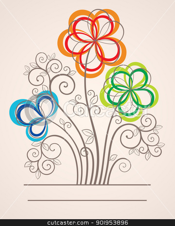Abstract clipart colorful flower Abstract flowers background vector with