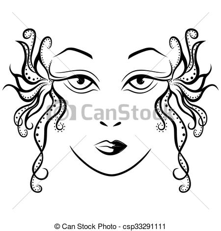 Abstract clipart female face Female hand ornamental black with