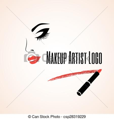 Abstract clipart makeup Woman with closed artist Makeup