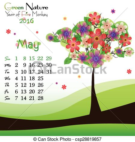 Abstract clipart may Tree springtime background with