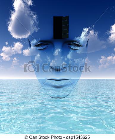 Abstract clipart open mind Open of Door  and