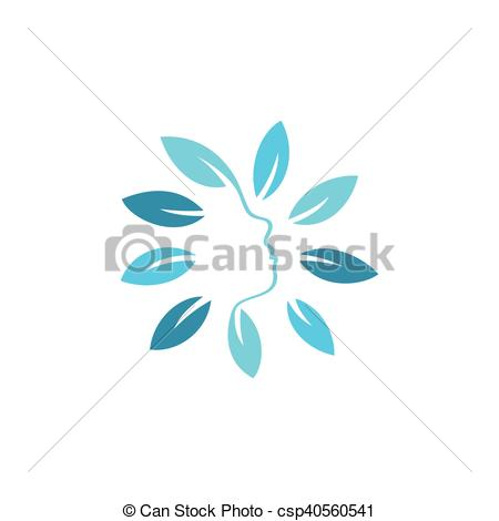 Abstract clipart side profile Icon Round of floral abstract