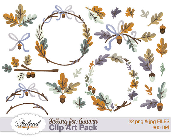 Wreath clipart thanksgiving Download Digital Fall Borders