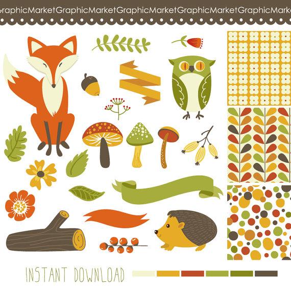 Acorn clipart small Art Woodland clipart Mushrooms Commercial