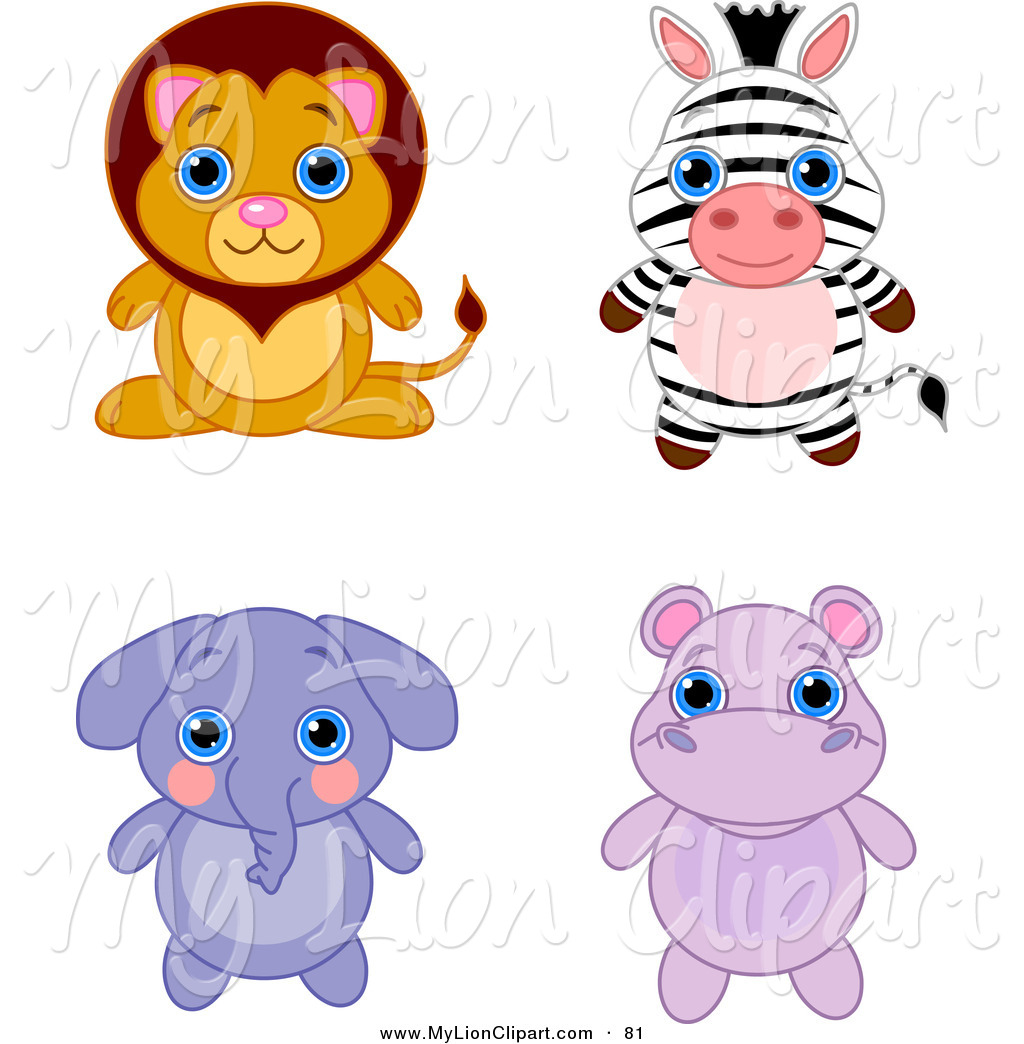 Adorable clipart white cat Lion Set an of Hippo