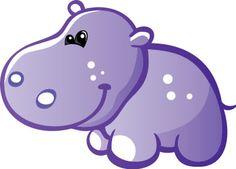 Adorable clipart baby hippo Grey Art dibujos para Wall