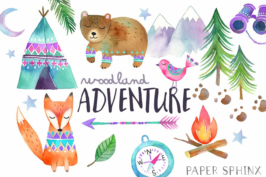 Adventure clipart Adventure Photos Fonts Watercolor Adventure
