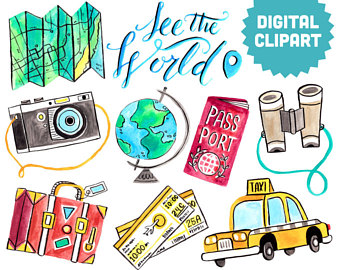 Adventure clipart journey Wanderlust Passport Digital Clipart Illustration