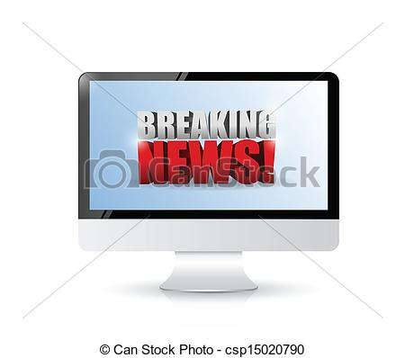 Advertisement clipart breaking news On EPS computer sign