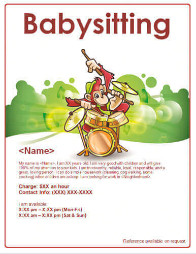Advertisement clipart help wanted Baby playing Babysitting [16 Monkey