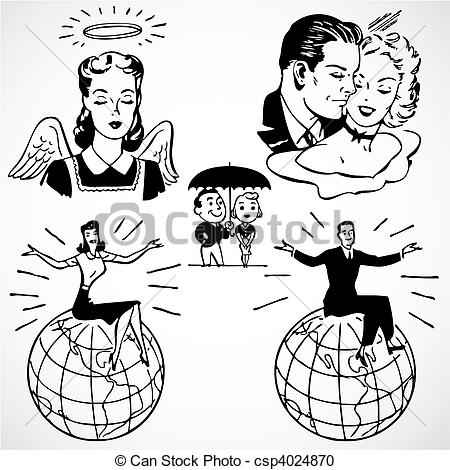 Advertisement clipart vintage woman Men Clipart of Vector and