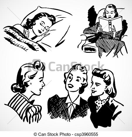 Advertisement clipart vintage woman Women Vector of Vector at