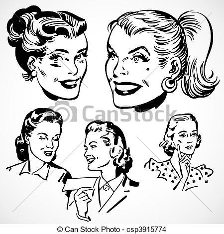 Advertisement clipart vintage woman Women Vector Vintage Vector EPS