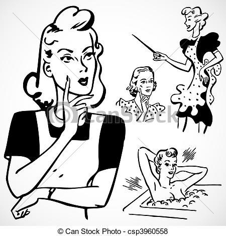 Advertisement clipart vintage woman Women Vector Vintage Vector Talking