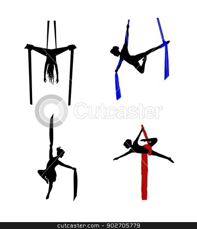 Aerial clipart Dancers aerial vector stock silhouettes