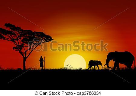 Drawn sunset mountain Of Massai  with and